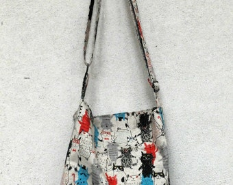 Printed cotton shoulder bag with hypster cats