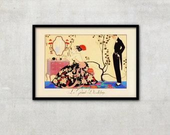 """Art Deco print vintage style fashion illustration, """"Le Grand Décolletage"""" by George Barbier, IL039."""