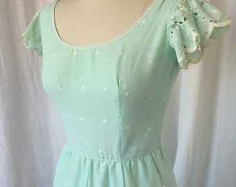 1970's MAXI dress /Size XS / Light Mint Green Blue Cotton Eyelet Formal Dress, Polka Dot, Embroidered, Romantic Boho Hippie Flower Power