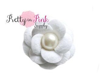 WHITE Layered Felt Flower with Pearl Center- Headband Supplies- Fabric Flowers- Supply Shop- DIY Headband Supplies- Felt Fabric Flower