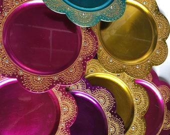 Beautiful HANDMADE Charger thaal /mehndinight  decor Plate/Henna Plate /Pooja Thali/Wedding CenterPiece/decorative plate/henna charger plate