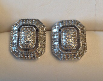 Vintage pair of 10k white gold rectangular open earrings with 44 Pavé Diamonds .11 tw posts and backs