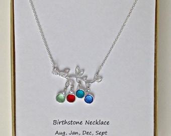 Grandma Birthstone Necklace, Custom Family Tree Jewelry, Family Birthstone Necklace, Family Jewelry, Personalized Family Tree,
