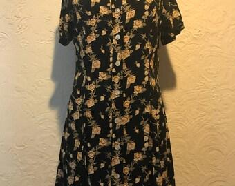 Vintage Dress- Vintage Black Floral Shirtsleeve Button Down Dress