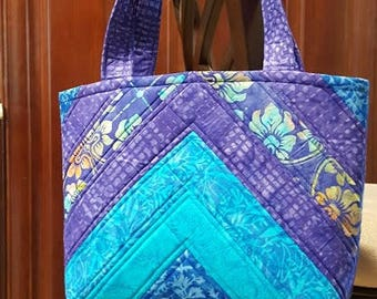 Quilted Handbag/Tote in Batik Prints with Chevron Style