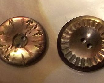 2 Vintage Carved  Mother of Pearl Buttons--Item# 203