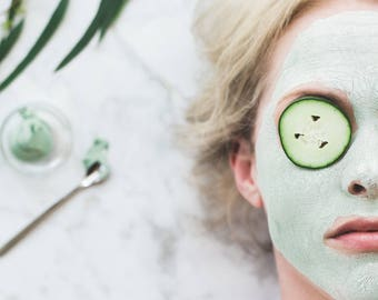 FACIAL MASK // 'Refresh' Anti-Aging Green Tea & Seaweed Clay Mask - - - Vegan ∙ Organic ∙ 100% Natural