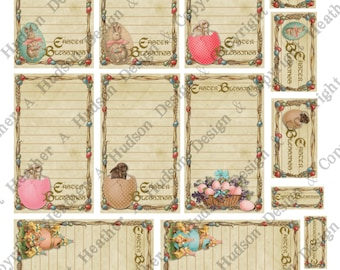 Victorian Vintage Easter Shabby Chic Journal Tags  Digital Collage sheet Printable
