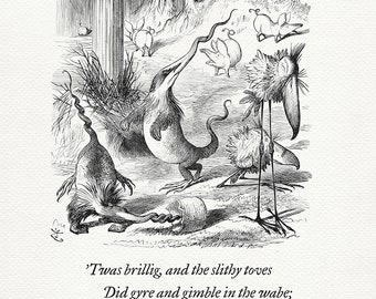 The Borogoves, Toves and the Raths - quote Alice in Wonderland / Through the Looking-Glass based on book illustration by J. Tenniel #59