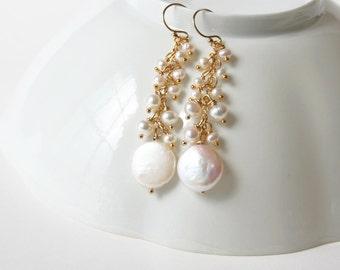 Coin Pearl Earrings, Bridal Earrings, Wedding Jewelry, Pearl Earrings