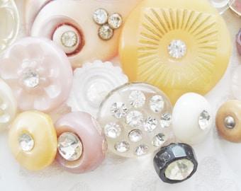 Fancy Nancy Plastic Rhinestone Buttons -  Vintage Rhinestone Buttons - 34 Fancy and Unique Buttons - Pink Yellow White Rhinestone Buttons