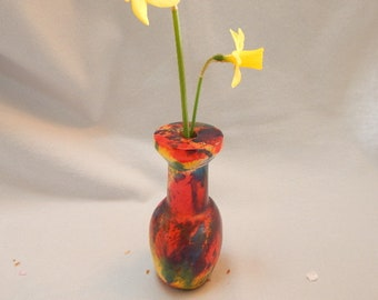 Mothers Day gift, gift for her, dyed maple bud vase, blue, red, purple weed pot