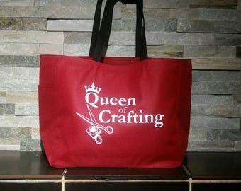 Craft themed tote bag - crafting gift - craft tote bag - polyester crafting bag - original design crafting bag - craft creative tote bag
