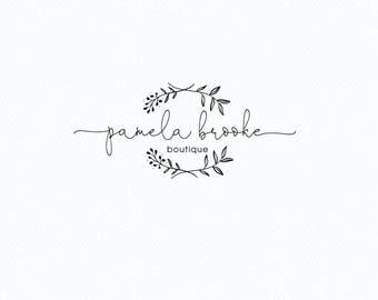Floral Wreath Logo, Premade logo design, Photography Logo, Boutique logo, Business logo, Botanical logo, Laurel logo