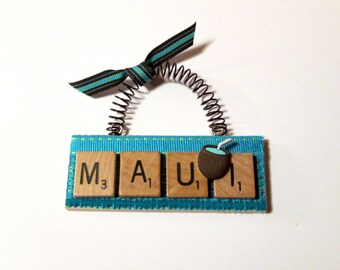 Maui Tropical Scrabble Tile Ornament