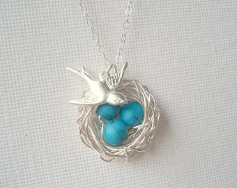 Bird Nest Necklace Turquoise Necklace Mom Necklace Child Nest Necklace Robins Nest Bird Necklace Jewelry Bird Jewelry