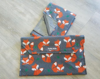 "Nappy Wallet & Waterproof Change Mat. ""Little Fox"" Fabric. Beautiful Gift!"