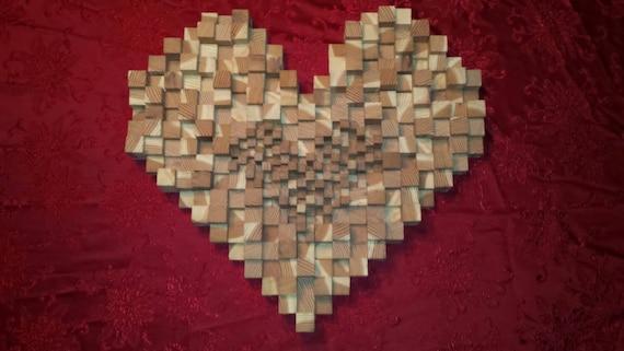 & Heart Art Red Wood Wall Decor Wall Sculpture Home Decor Wood