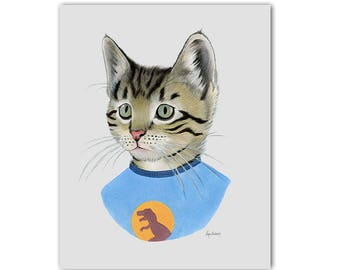 Tabby Kitten art print - Cat art - Pet Portrait - Animals in Clothes - Animal Art - Modern Nursery - Ryan Berkley Illustration 8x10