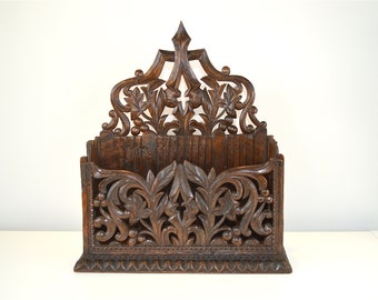 Victorian Gothic revival hand carved walnut letter rack wall pocket English circa.1870