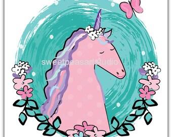 Unicorn Art Print, Unicorn decor, Unicorn wall decor, Unicorn art Decor, Magical Unicorn art, unframed 8 x 10, Purple teal art or Pink teal