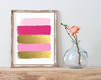 Pink and Gold Paint Strokes Abstract Gold Foil Print FREE US SHIPPING