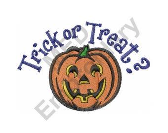 Trick Or Treat - Machine Embroidery Design, Halloween, Jack-O-Lantern