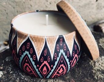 Multicolor Boho Soy Candle