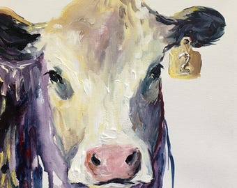 Cow Painting Original Painting, Western Decor, Ranch Painting, Turquoise, Violet, Black