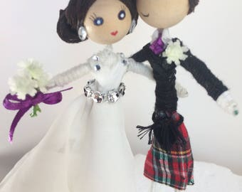 Customised bride and groom cake topper, Scottish, tartan