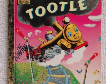 1973 Tootle Golden Book is Tootle the Train Vintage Golden Book is Little Golden Book about Train