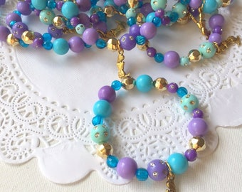 Mermaid, gold charm,kids party favor, jewelry, beaded bracelet, kids birthday party. SET of TEN.