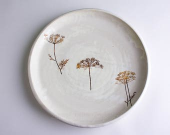White Ceramic Plate - Pottery Botanical Plate - Stoneware Plate - Dill- 9 inch white plate
