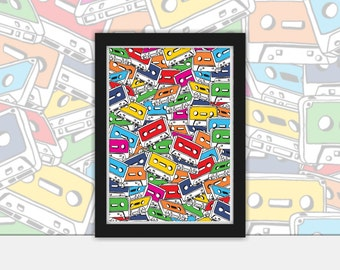 Tape Deck  vector art Poster - Vintage, Pop Art, Print, Framed in Black A4 or A3
