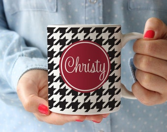Personalized Coffee Mug -Houndstooth with name