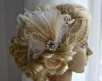 Bridal Veil and fascinator Downton Abbey 1920's flapper headpiece ivory, Great Gatsby, birdcage veil set, Feather fasciantor