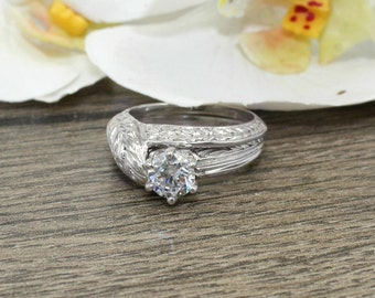Art Deco Floral 1.0Ct. Stimulated Diamond and Sterling Silver Engagement Ring Set- Wedding, Promise, Proposal, Birthday, Love and Friendship