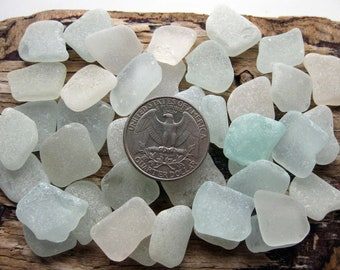 Authentic Sea Glass 40 Pcs | Genuine Beach Glass | Square Sea Glass | Aqua Sea Glass | White Sea Glass | Surf Tumbled Glass | Mermaids Tears