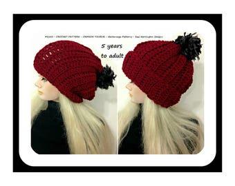 Crochet Hat Pattern, Crochet Touque, Crochet Beanie, Women, children, teens, #2143, Crimson Hat