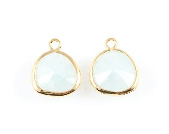 2pcs Alice Blue Sparkle Glass Charm in Gold, Framed Drop Glass Bead / Charms / Gems / Blue / 13mm x 16mm / GABG-013-P