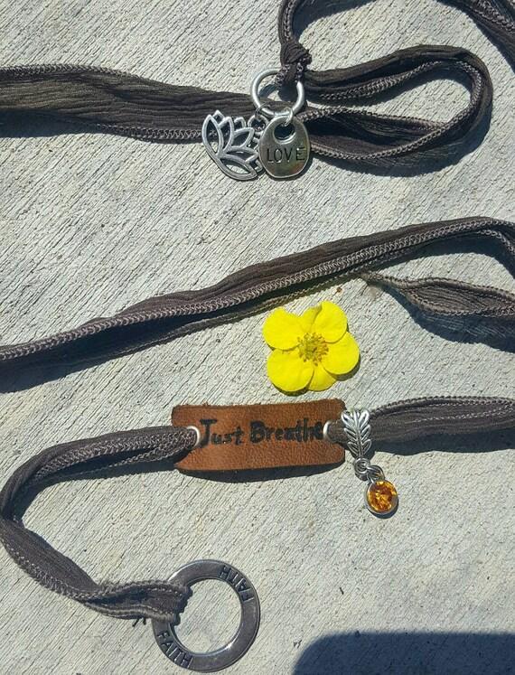 Just Breathe - Silk Wrap Bracelet with LEATHER Charm