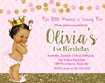 Princess Birthday Party Invitation, First Birthday, Baby, Vintage - Printable or Printed with FREE SHIPPING