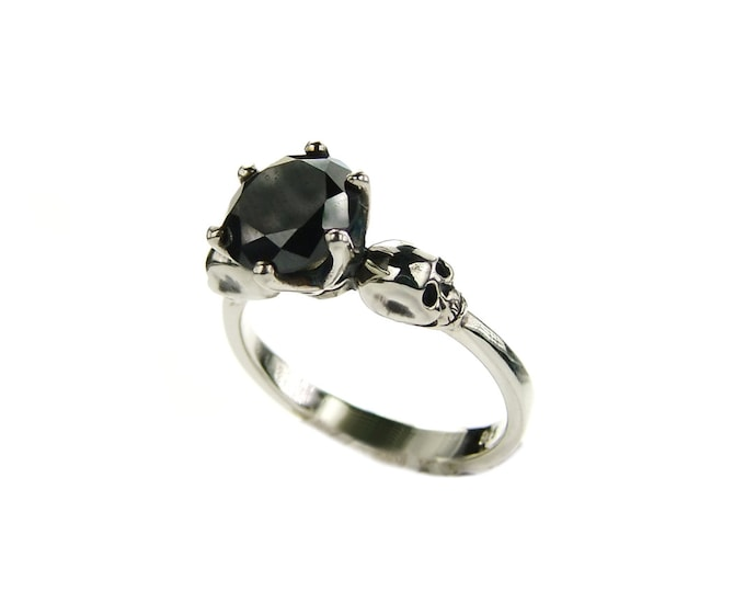 Skull Promise Ring with Black Spinel in Sterling Silver - All Sizes