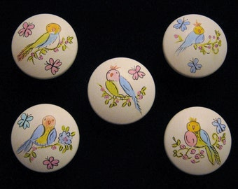 Sweet Pastel Bird Knobs - Hand Painted - Set of 5