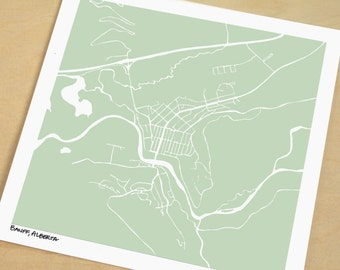 Banff Map, Hand-Drawn Map Print of Banff Canada