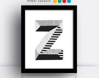 Letter Z print - hand drawn typeface