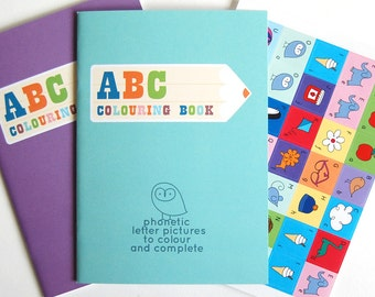 Birthday Gift, Party Bag, ABC Colouring Book for Boys & Girls with FREE Stickers