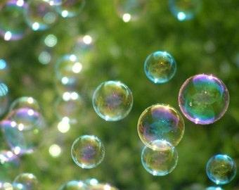 Wonder - Bubble Photograph - Nursery Art in Green - 4x6, 5x7, 8x10, 11x14, 16x20