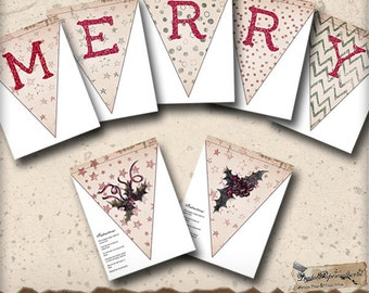 Merry Printable Banner - Ready to Print Christmas Holiday Garland - Holiday Decor - Digital Collage Sheet - Paper Crafts - Party Decoration