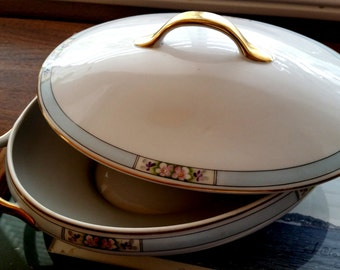 Vintage Meito Hand Painted Bone China Art Deco Pattern / Large Serving Dish